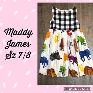 EUC Maddy James Clothing Brown Bear dress sz 7/8